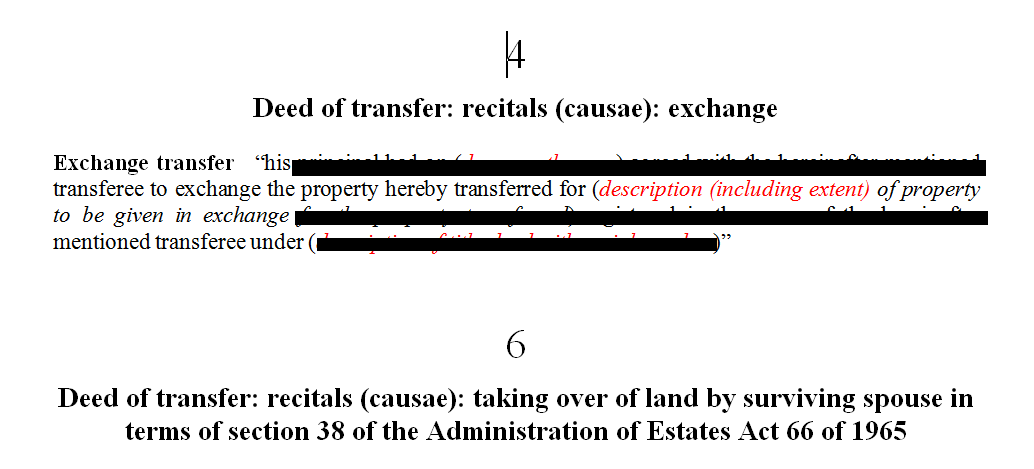 Deed of transfer mixed clauses causae
