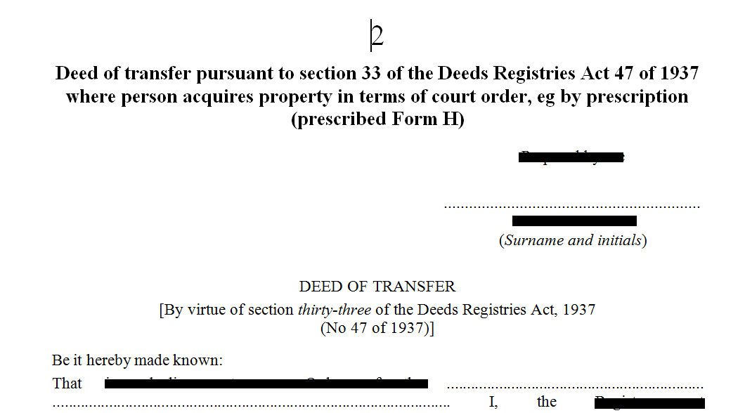Deed of transfer pursuant to s33 of the Deeds Registries Act