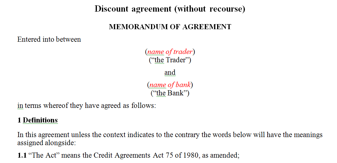 Discount agreement (without recourse)
