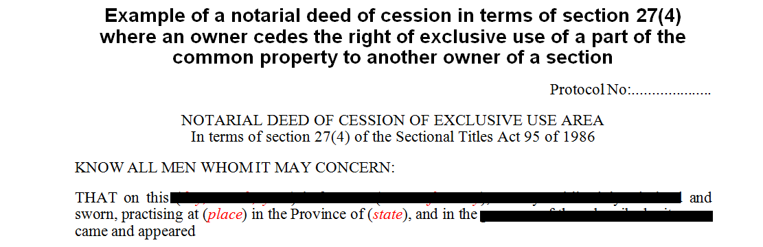 Example of a Notarial Deed of Cession in terms of s27(4) of the Sectional Titles Act