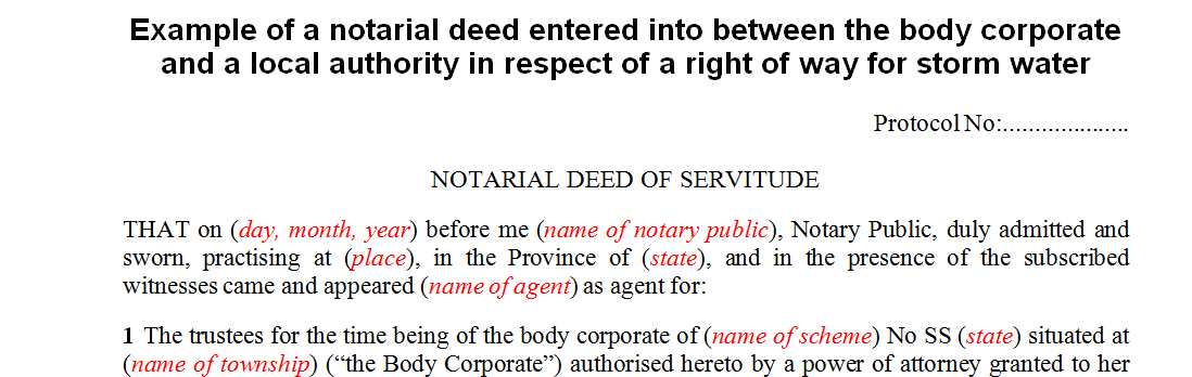 Example of a notarial deed between a body corporate and the local authority