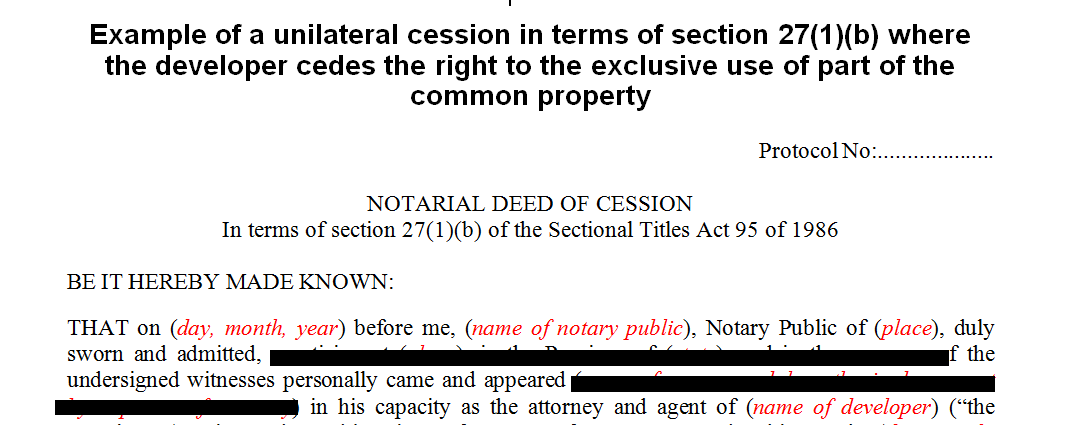 Example of a unilateral cession in terms of s271b of the Sectional Title Act