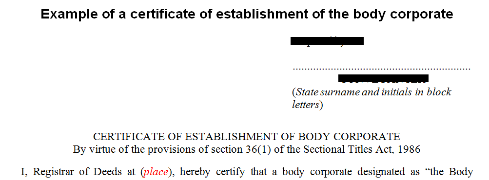 Example of certificate of establishment of the body corporate