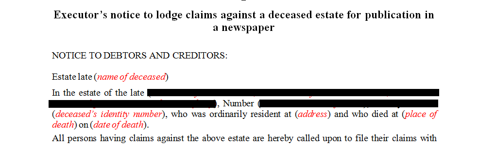 Executor's notice to lodge claims against a deceased estate for publication in a newspaper