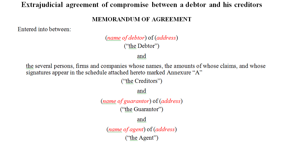 Extrajudicial agreement of compromise between a debtor and his creditors