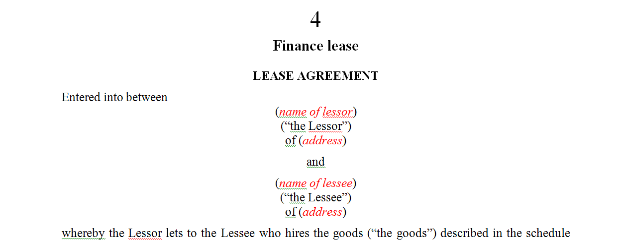 Finance lease