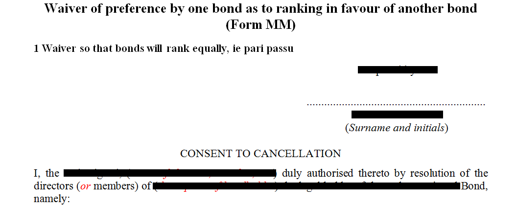 Form MM- waiver of preference by one bond as to ranking in favour of another bond