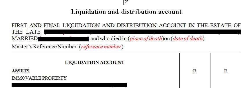 Full Liquidation and Distribution Account