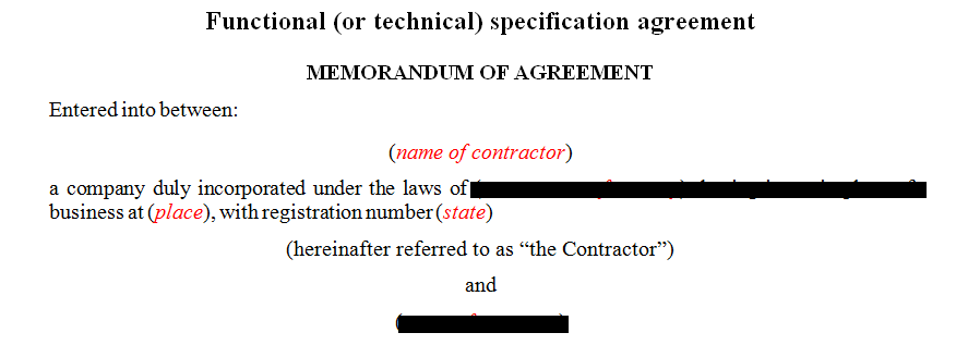 Functional (technical) specification agreement