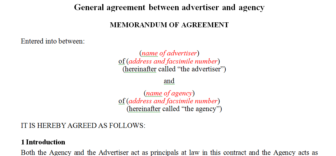 General agreement between advertiser and agency