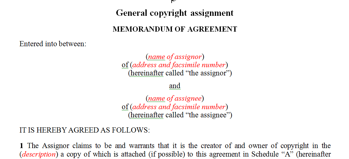 General copyright assignment