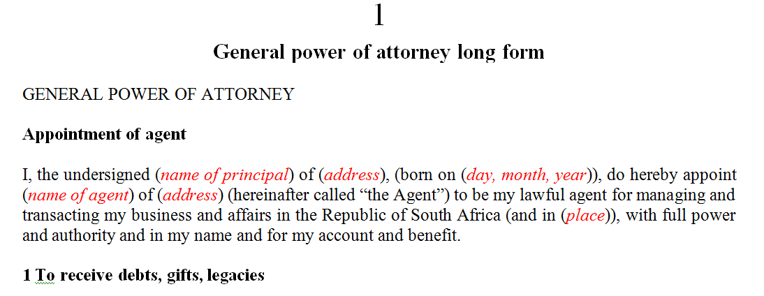 General power of attorney long form