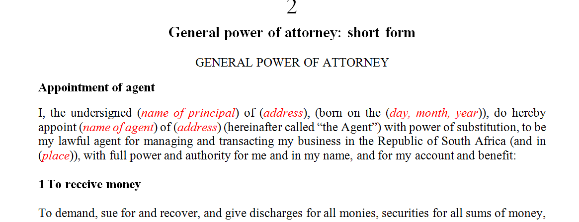 General power of attorney: short form