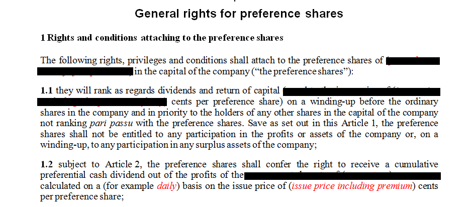 General rights for preference shares