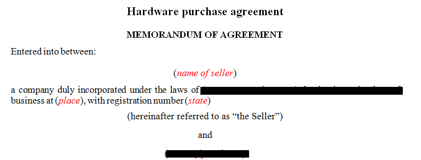 Hardware purchase agreement