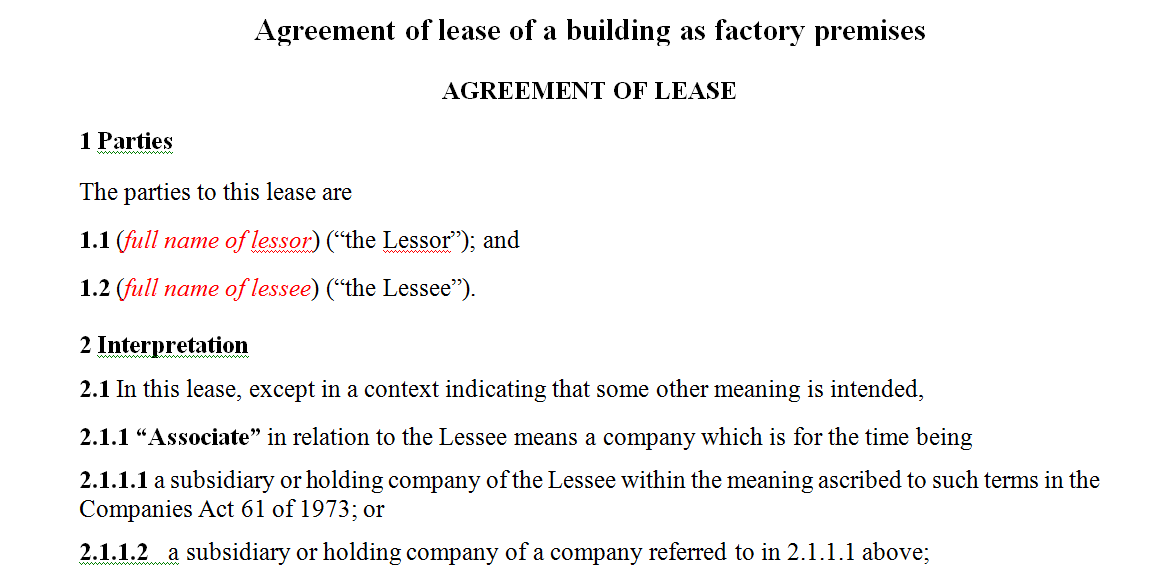 Lease agreement of a building as factory premises