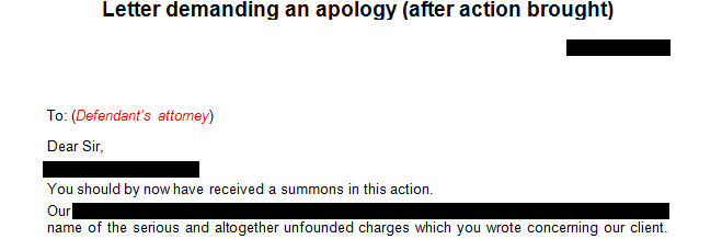 Letter demanding an apology after legal action has been brought