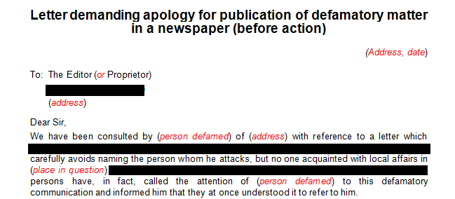 Letter demanding apology for publication of defamatory statement made