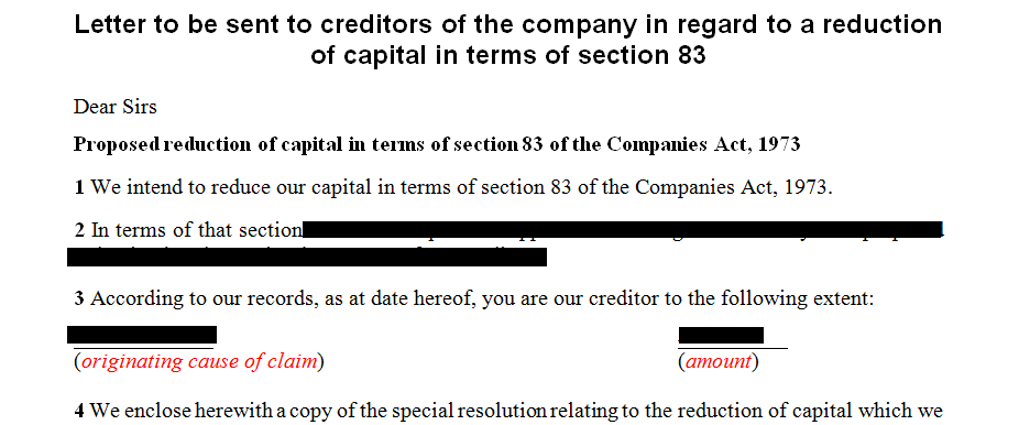 Letter to be sent to creditors of the company in regard to a reduction of capital in terms of section 83