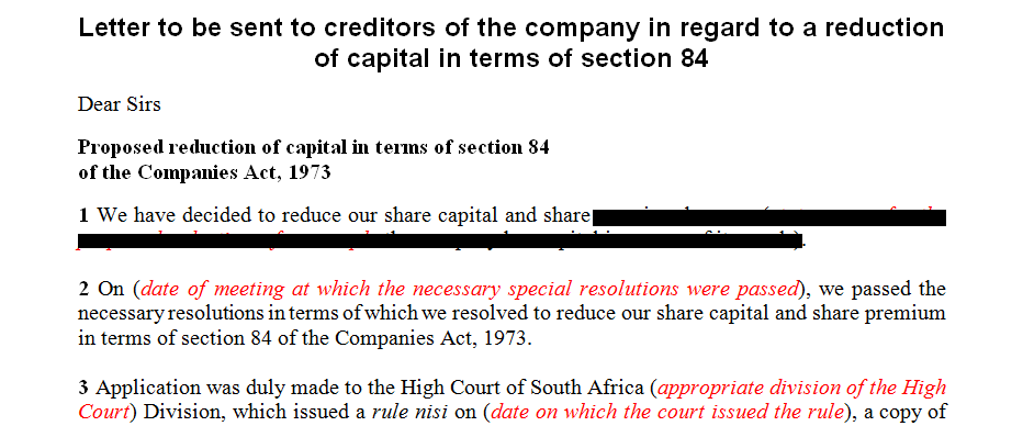 Letter to be sent to creditors of the company in regard to a reduction of capital in terms of section 84