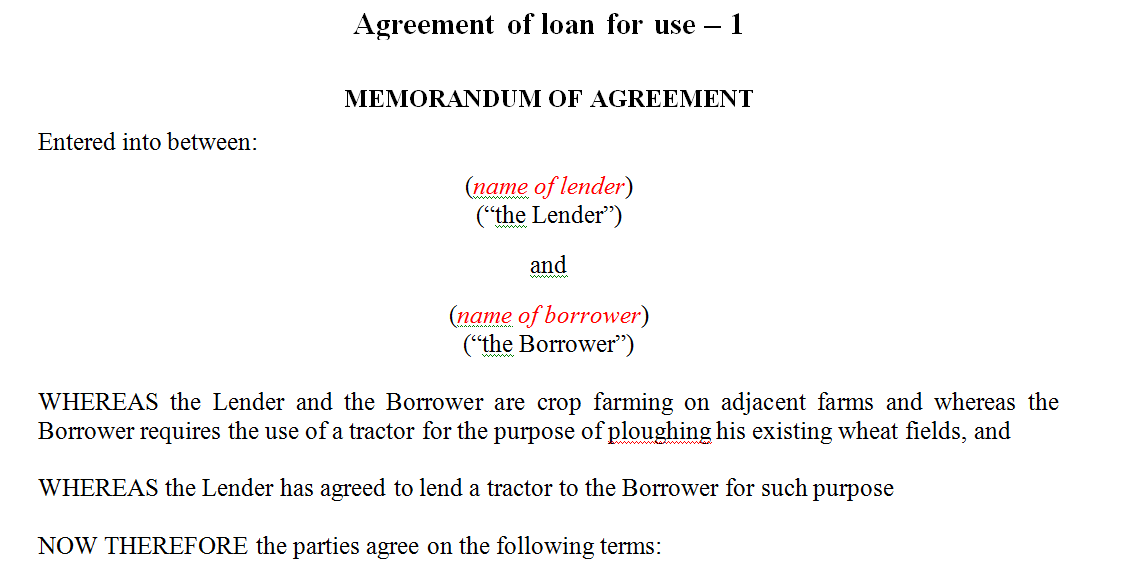 Loan agreement of a tractor - farmer