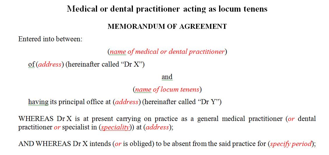 Medical or dental practitioner acting as locum tenens