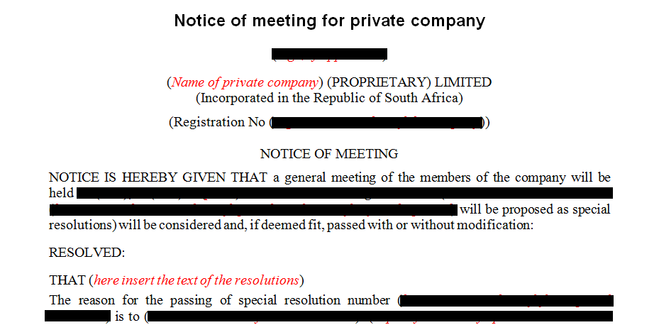 Mix of notices relating to company meetings