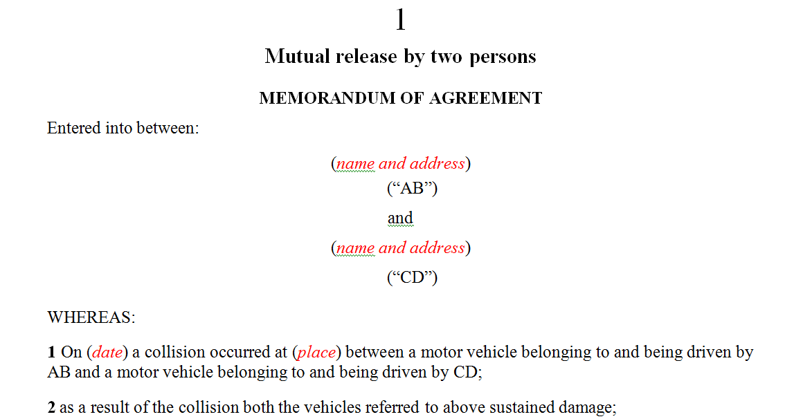 Mutual release by two persons