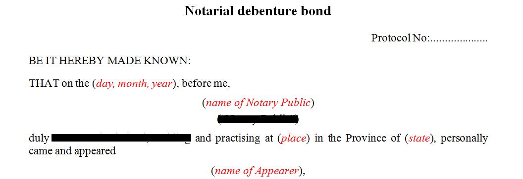 Notarial Debenture Bond