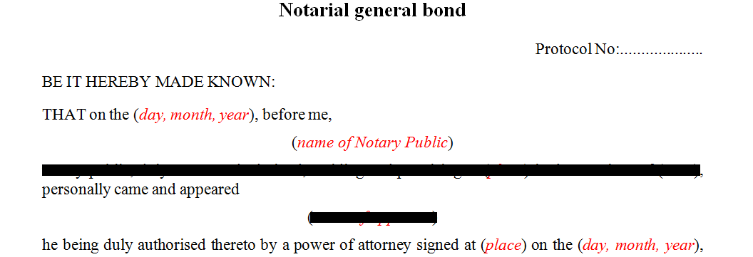 Notarial General Bond
