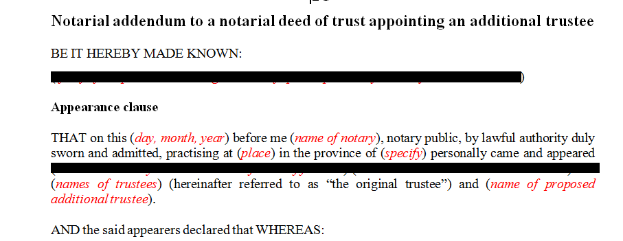 Notarial addendum to a notarial deed of trust appointing an additional trustee