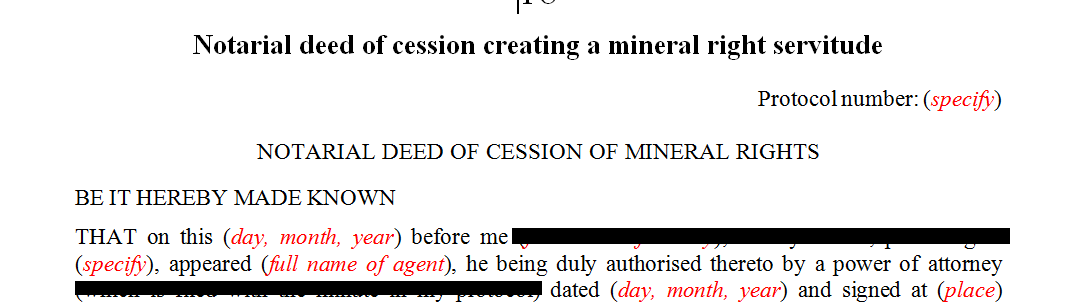Notarial deed of cession creating mineral right servitude
