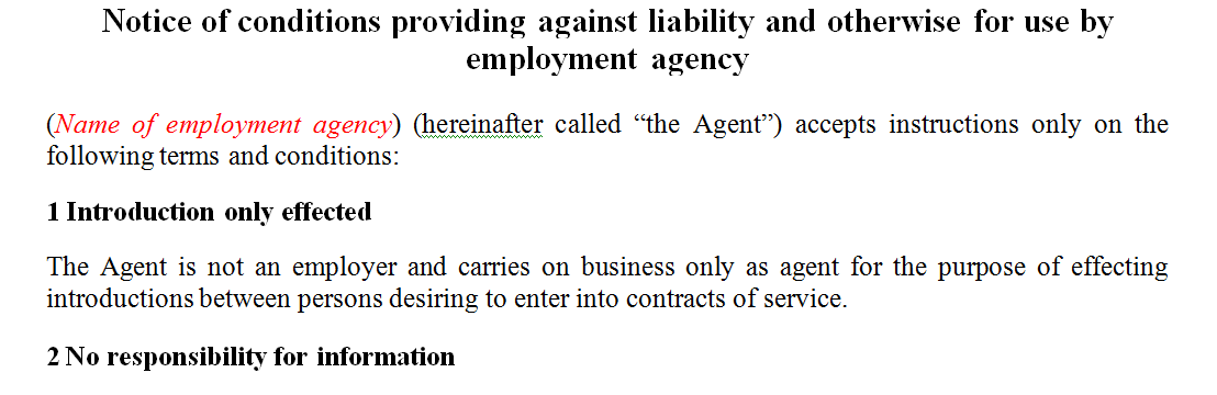 Notice of conditions providing against liability and otherwise for use by employment agency