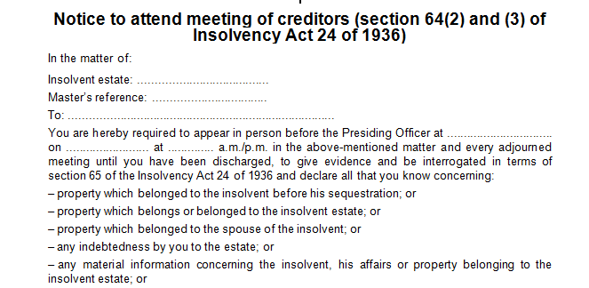 Notice to attend the meeting of creditors in trems of s64(2) of the Insolvency Act