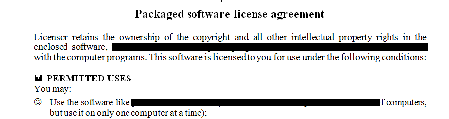 Packaged Software License Agreement