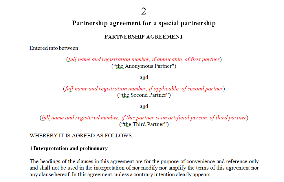 Partnership agreement for a special partnership