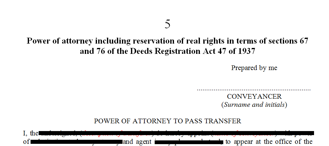 Power of Attorney: reservation of real rights