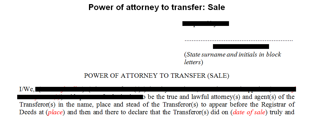 Power of Attorney to transfer: Sale