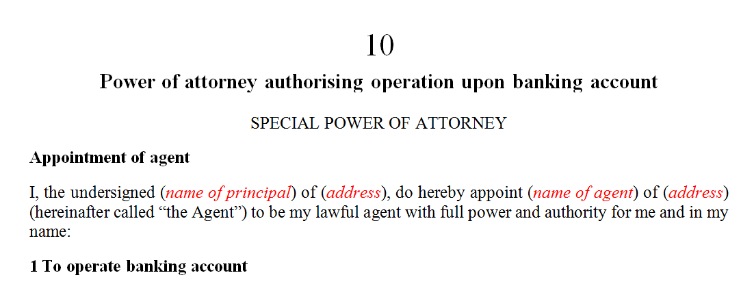 Power of attorney authorising operation upon banking account