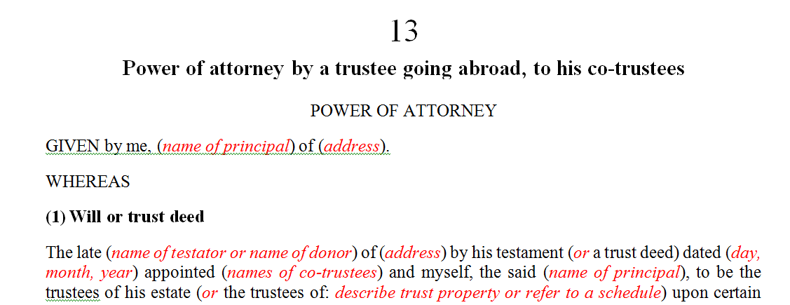 Power of attorney by a trustee going abroad, to his co-trustees