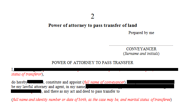 Power of attorney for the transfer of land