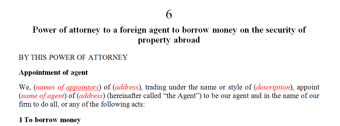 Power of attorney to a foreign agent to borrow money on the security of property abroad