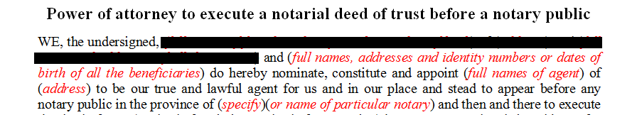 Power of attorney to execute a notarial deed of trust before a notary public