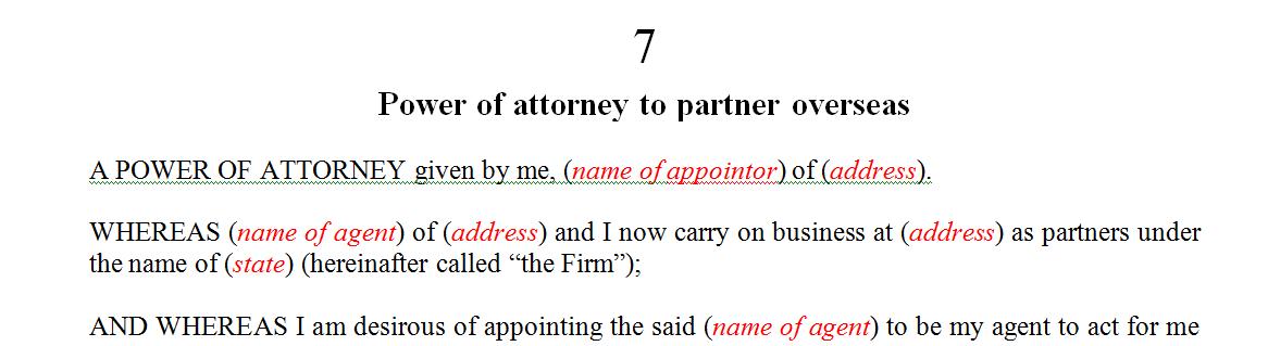 Power of attorney to partner overseas