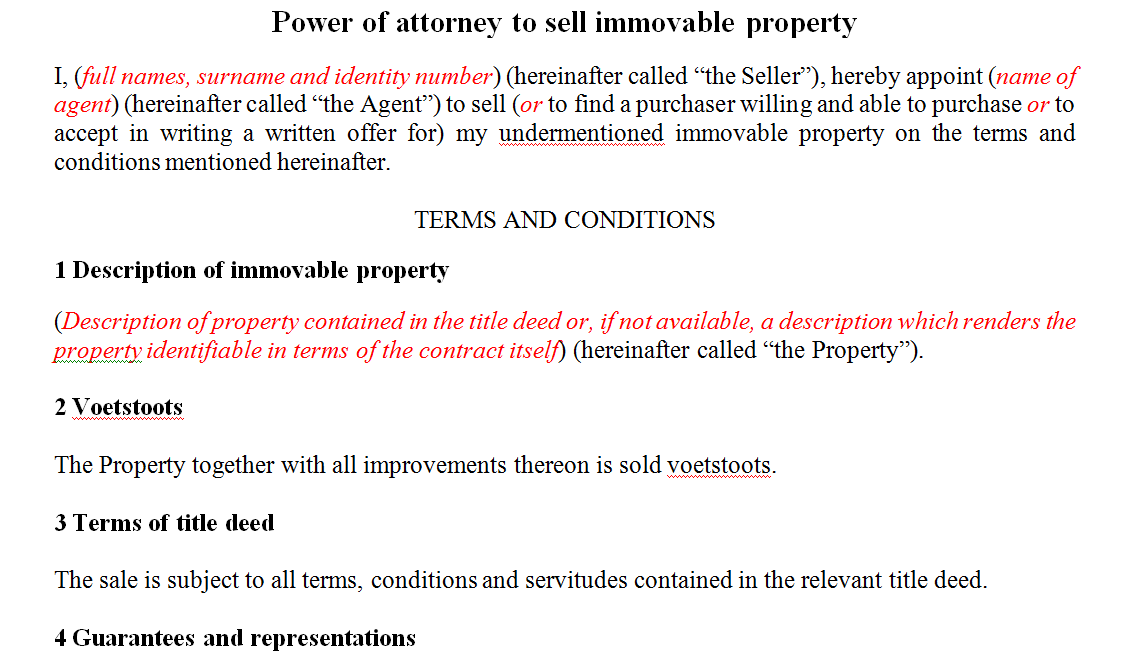 Power of attorney to sell immovable property