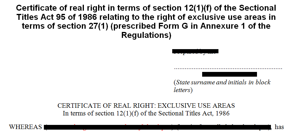 Prescribed Form G Certificate of real rights in terms of s121f of the Sectional Titles Act