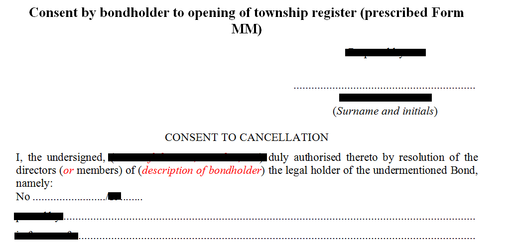 Prescribed Form MM- Consent by bondholder to the opening of a township register