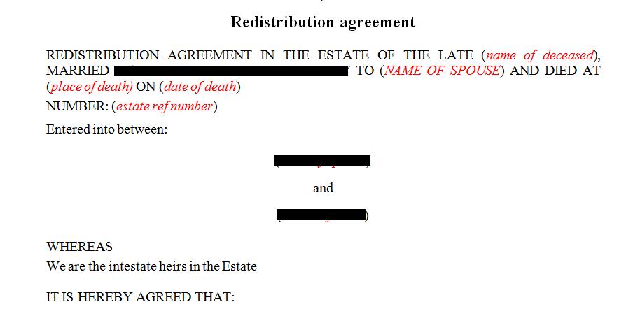 Redistribution agreement