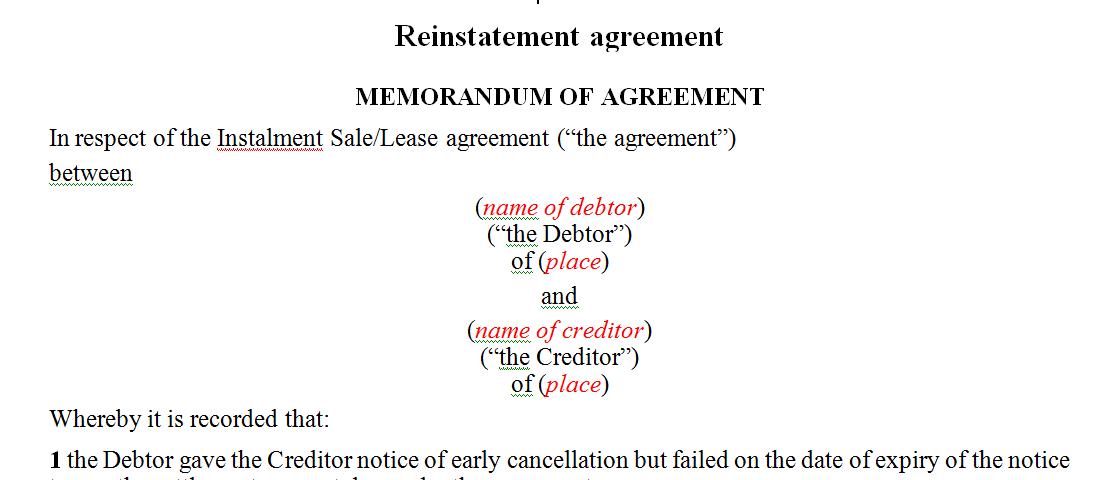 Reinstatement agreement