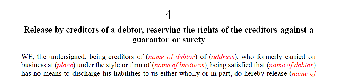 Release by creditors of a debtor, reserving the rights of the creditors against a guarantor or surety